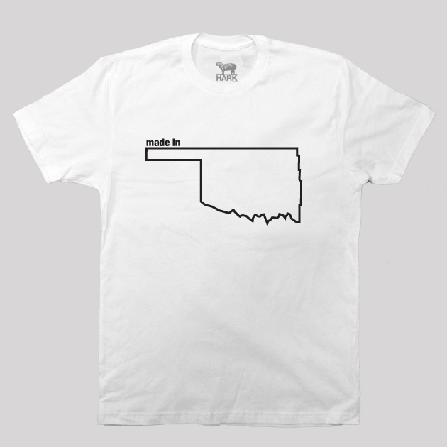oklahoma ok made state map profile t shirt hark and co