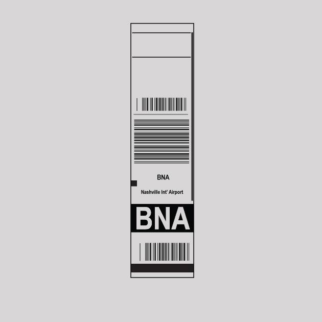 BNA - Nashville Airport Code Baggage Tag T-shirt