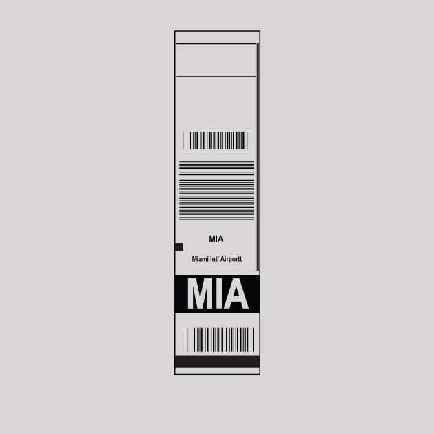 MIA - Miami Airport Code Baggage Tag T-shirt