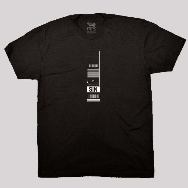 SIN - Singapore Airport Code Baggage Tag T-shirt